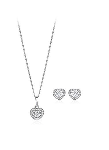 Tophills Diamond Co. 0,95 Ct Pırlanta Efekt Altın Fall İn Love Set  Renkli